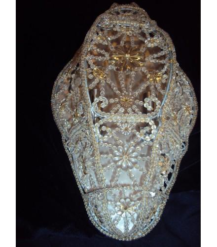 Applique da parete mezza lanterna con cristalli di boemia e swarovski