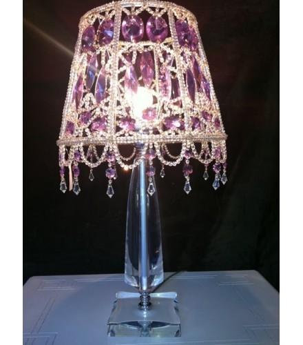Lampada da appoggio con base cristallo e paralume con cristalli di boemia e swarovski