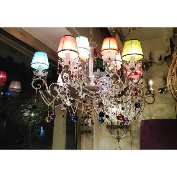Lampadario con 12 paralumi in stoffa di vari colori - Fiorentino ...