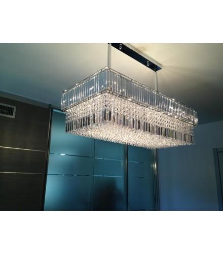Lampadario sospensione ottone cromo lucido con cristalli mod. diamante con 32 lampade G9